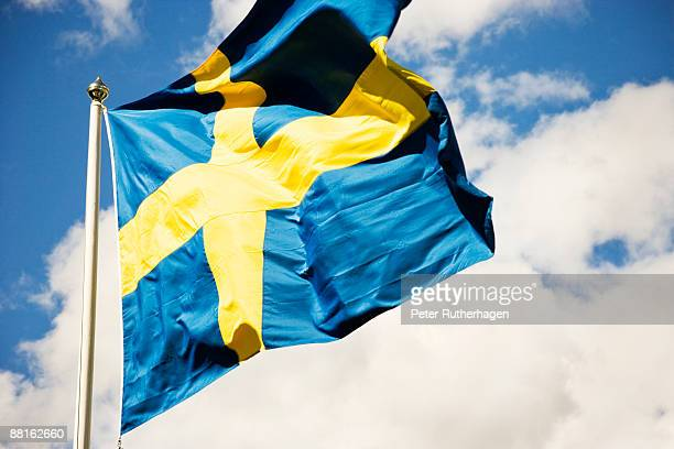 The Swedish flag in the wind Sweden.
