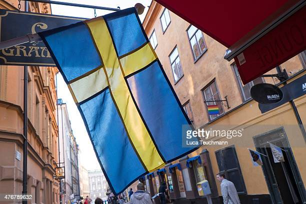 The Swedish flag is displayed in Gamla stan days before the Royal Wedding of Swedish Prince Carl Philip and his fiancee Sofia Hellqvist on June 9...