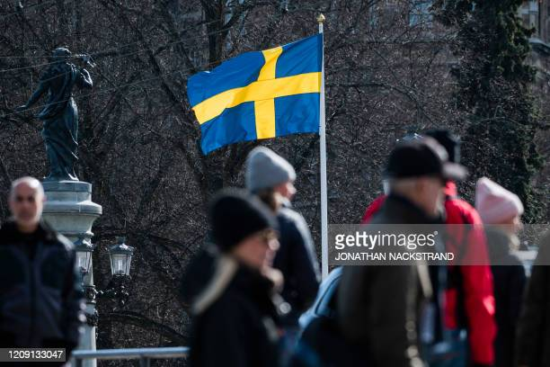 The Swedish flag is pictured on April 4, 2020 in Stockholm during the the new coronavirus COVID-19 pamdemic.