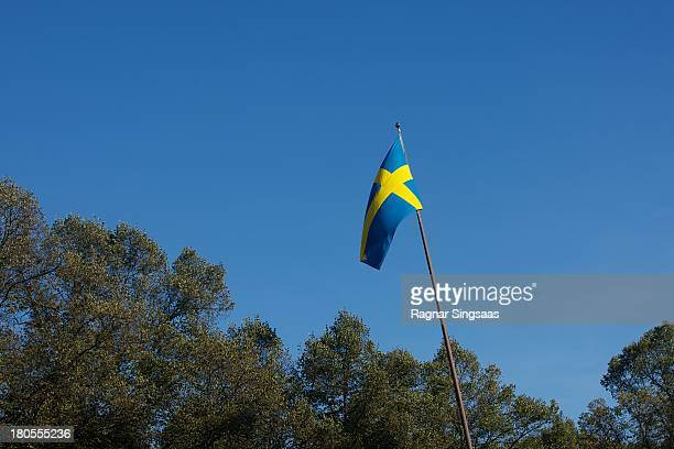 The Swedish flag is seen at the Swedish Government dinner to celebrate King Carl Gustaf's 40th Jubilee on the throne at Nordiska Museum on September...