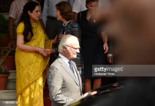The Swedish King Carl XVI Gustaf and Queen Silvia leave Raj Bhavan on December 4 2019 in Mumbai India
