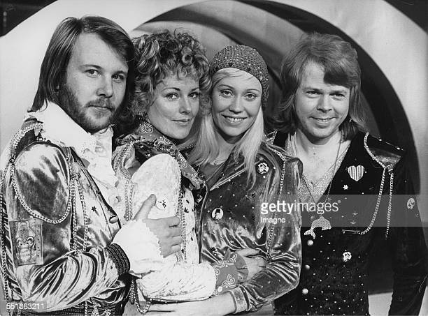 The Swedish pop group ABBA. From left to right: Benny Andersson; Anni-Frid Lyngstad; Agnetha Fältskog and Björn Ulvaeus. Photograph. Euro Vision Song...