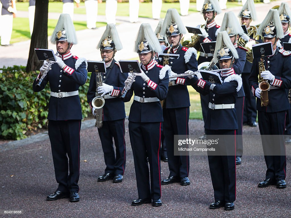 The Swedish royal band prepares for the arrival of the kind at a ceremony at Storkyrkan in connection with the opening session of the Swedish parliament on September 13, 2016 in Stockholm, Sweden.