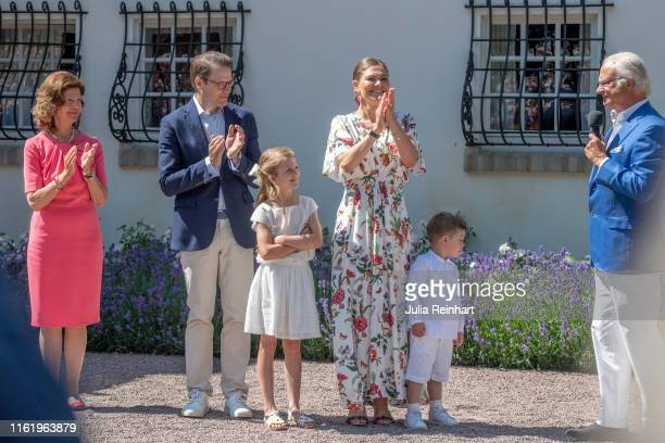 The Swedish Royal Family applauds Crown Princess Victoria during The Crown Princess Victoria of Sweden's 42nd birthday celebrations on July 14 2019...