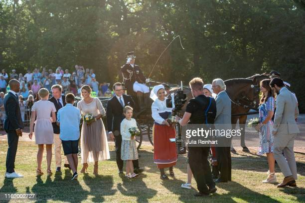 The Swedish Royal Family arrives at The Crown Princess Victoria of Sweden's 42nd birthday celebrations on July 14 2019 at Borgholm's Idrottsplatsen...