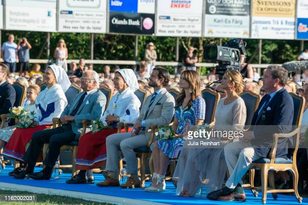 The Swedish Royal Family attend The Crown Princess Victoria of Sweden's 42nd birthday celebrations on July 14 2019 at Borgholm's Idrottsplatsen in...