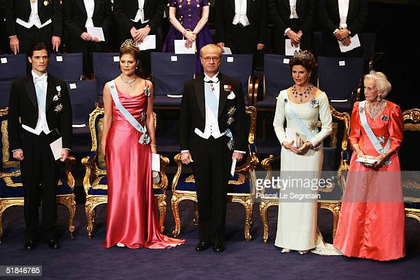 The Swedish Royal family during the the awarding ceremony of the Nobel Prizes at City Hall December 10, 2004 in Stockholm, Sweden. From left are...