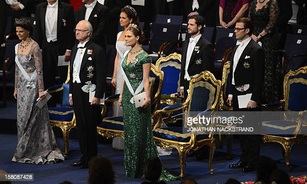 The Swedish Royal family with Queen Silvia King Carl Gustaf Princess Madeleine Crown Princess Victoria Price Carl Philip and Prince Daniel attend the...