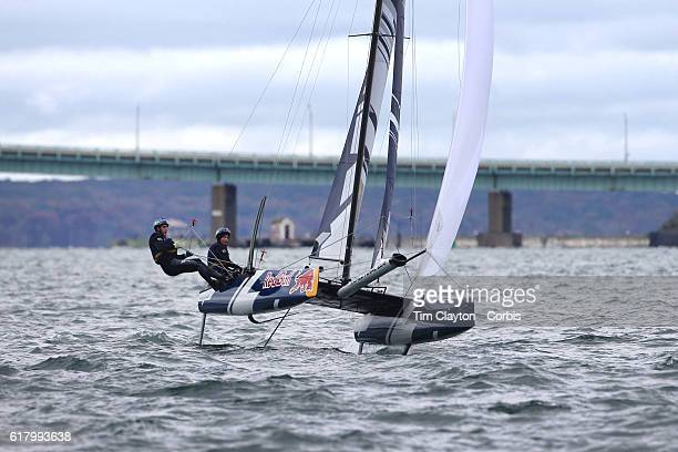 The Swedish team of Celina Burlin and Oscar Madeyski Bengtson in action during the Red Bull Foiling Generation World Final 2016 on October 22 2016 in...