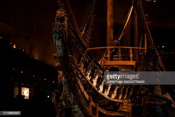 The Swedish warship Vasa, is pictured on April 24 at the Vasa Museum in Stockholm, 59 years after Vasa broke the surface in 1961 after 333 years on...