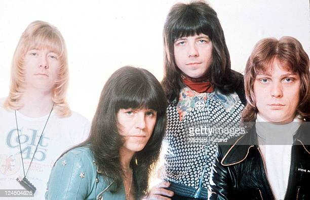 The Sweet group portrait circa 1974 LR Brian Connolly Mick Tucker Andy Scott Steve Priest