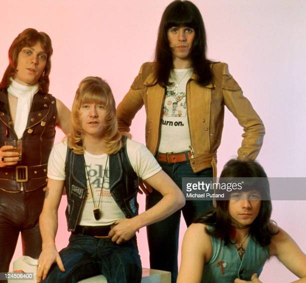 The Sweet group portrait circa 1974 LR Steve Priest Brian Connolly Mick Tucker Andy Scott