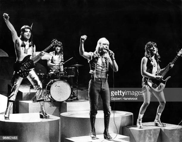 The Sweet perform live on stage at Hilversum Netherlands circa 1974 LR Andy Scott Mick Tucker Brian Connolly Steve Priest
