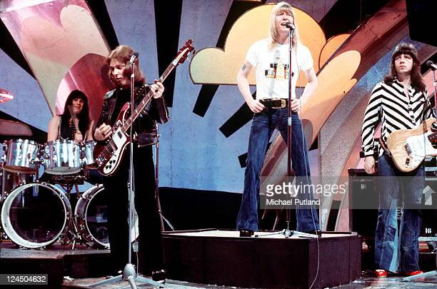 The Sweet perform on BBC TV show Top Of The Pops London LR Mick Tucker Steve Priest Brian Connolly Andy Scott