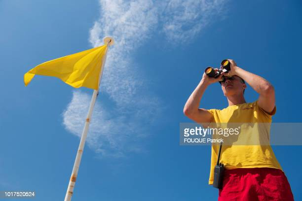 the swimmer lifeguard is photographed for Paris Match on a surveillance mission on july 06 2018 in Biscarosse France
