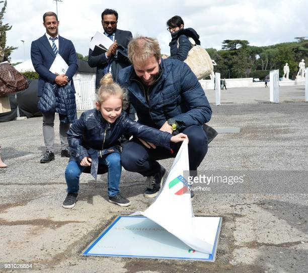 The swimmer Massimiliano Rosolino during the ceremony Walk of Fame in Rome Italy on 12 March 2018 The Walk of Fame is enriched with 5 more samples...