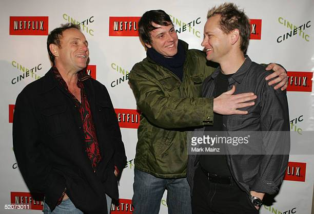 The Swimmers cast Robert Knott Michael Mosley and director Doug Sadler attend Cinetic Media party at Zoom during the 2005 Sundance Film Festival on...