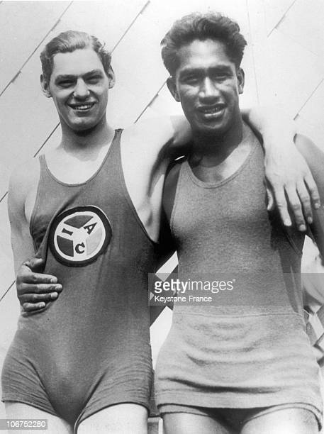 The Swimming Champions Johnny Weissmuller And Duke Kahanamoku In Swimsuits Around 1924 A Swimmer And Actor Johnny Weissmuller Was The Great American...