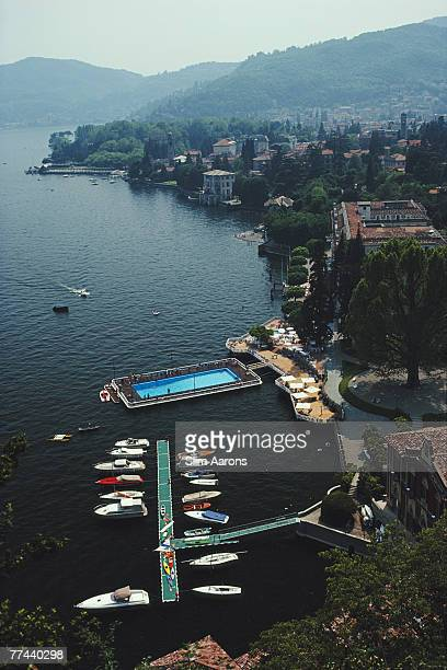 The swimming pool and jetty at the Villa d'Este Hotel, Lake Como, Italy, June 1983.