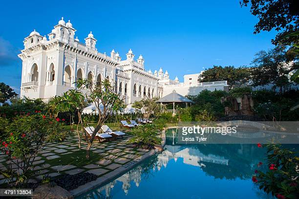 PALACE HYDERABAD TELANGANA INDIA The swimming pool at Falaknuma Palace in Hyderabad a rambling scorpion shaped mansion meaning mirror of the sky and...