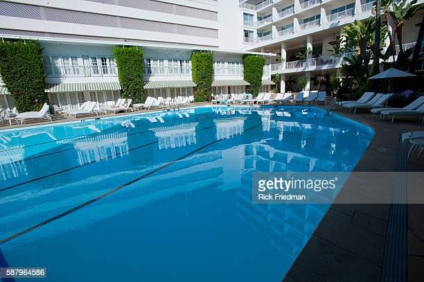 The swimming pool at the Beverly Hilton in Beverly Hills CA