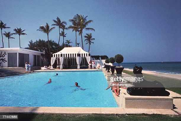 The swimming pool at the home of Molly Wilmot in Palm Beach Florida April 1982