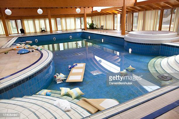 The swimming pool at the house of Aisha Gaddafi the daughter of Libyan leader Muammar Gaddafi on August 30 2011 in Tripoli Libya Libyan rebel...