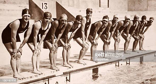 The swimming team of the USA which included medallists in a number of events at the Paris Olympics in 1924
