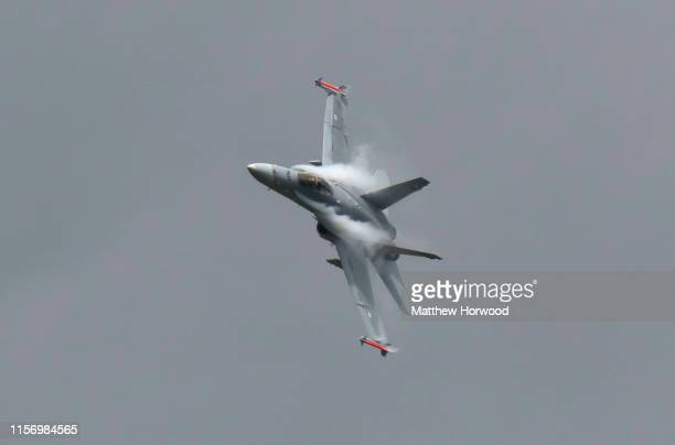The Swiss Air Force F/A18C Hornet performs during the International Air Tattoo at RAF Fairford on July 21 2019 in Fairford England The Royal...