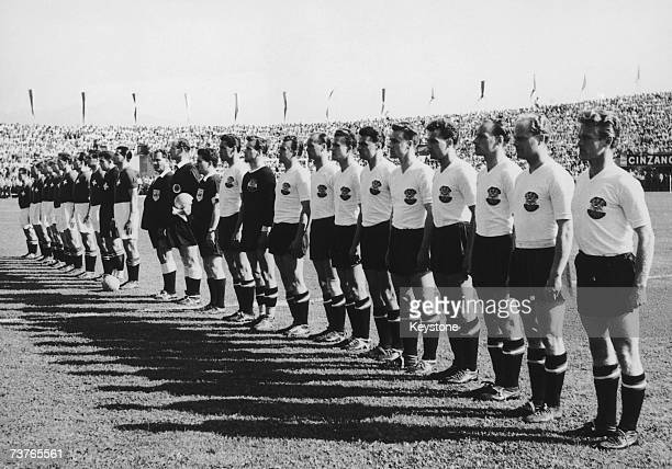 The Swiss and Austrian national anthems are played before their World Cup quarterfinal match at the Olympic stadium Lausanne Switzerland 26th June...