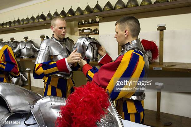 The Swiss Guard preparing for the Oath of new recruits The guards wear their armours Vatican City 6th May 2015