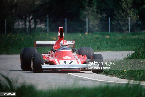The Swiss racing car driver Clay Regazzoni driving a Ferrari 312 B3-74 during a test on track. Fiorano, May 1974