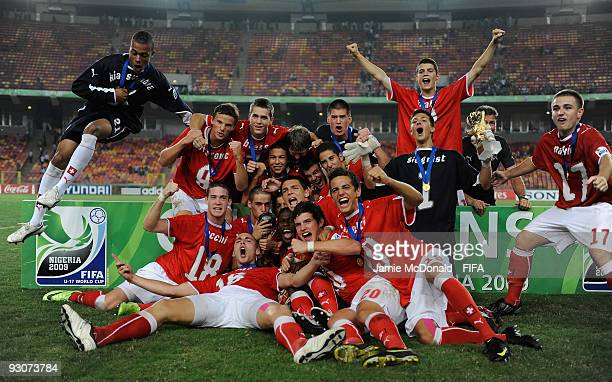 The Swiss team celebrate winning the U17 World Cup during the FIFA U17 World Cup Final match between Switzerland and Nigeria at the Abuja National...