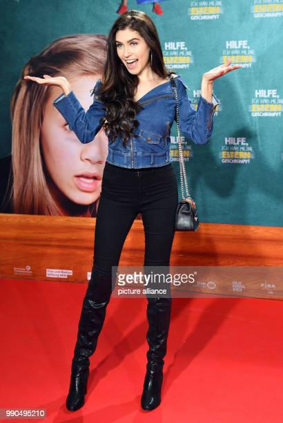 The Swiss YouTuber Singer and Instagrammer Ana Lisa Kohler arrives for the premiere of the film 'Help I've Shrunk My Parents' in Cologne Germany 14...