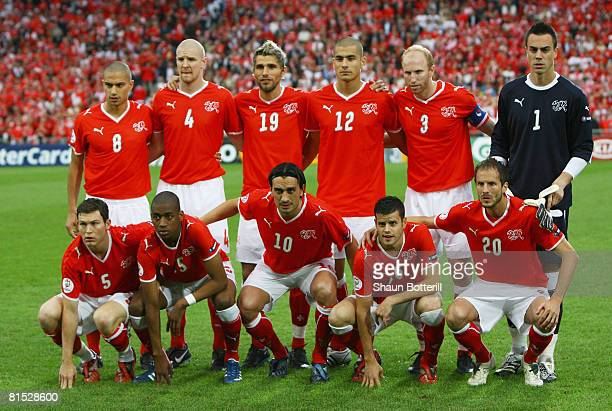 The Switzerland line up during the UEFA EURO 2008 Group A match between Switzerland and Turkey at St JakobPark on June 11 2008 in Basel Switzerland