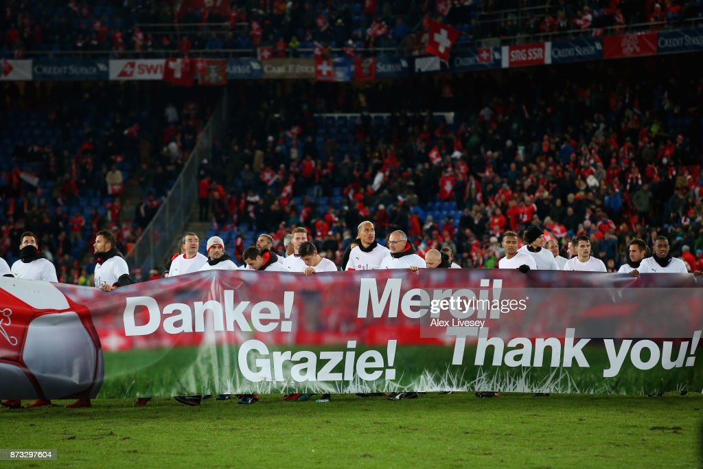 The Switzerland players thanks their supporters after qualification for the World Cup following the FIFA 2018 World Cup Qualifier Play-Off: Second Leg between Switzerland and Northern Ireland at St. Jakob-Park on November 12, 2017 in Basel, Basel-Stadt.