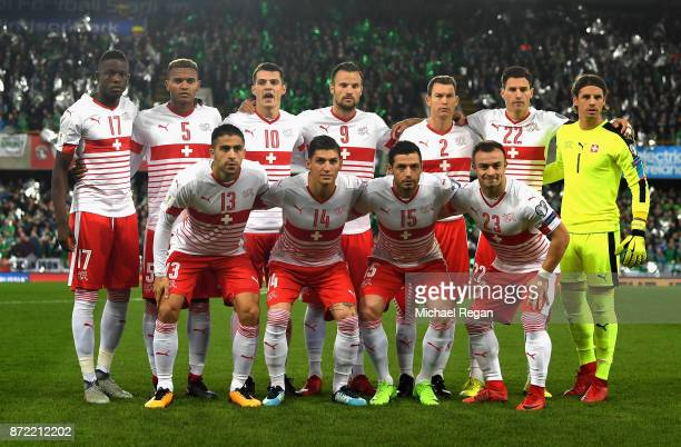 The Switzerland squad line up prior to the FIFA 2018 World Cup Qualifier PlayOff First Leg between Northern Ireland and Switzerland at Windsor Park...
