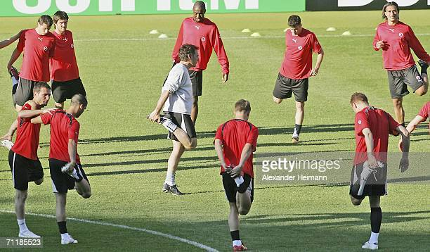 The Switzerland tea limber up during the training session of the national football team of Switzerland in the GottliebDaimler stadium on June 12 2006...