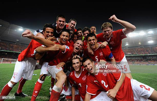 The Switzerland team celebrates at the final whistle as they win the FIFA U17 World Cup during the FIFA U17 World Cup Final match between Switzerland...