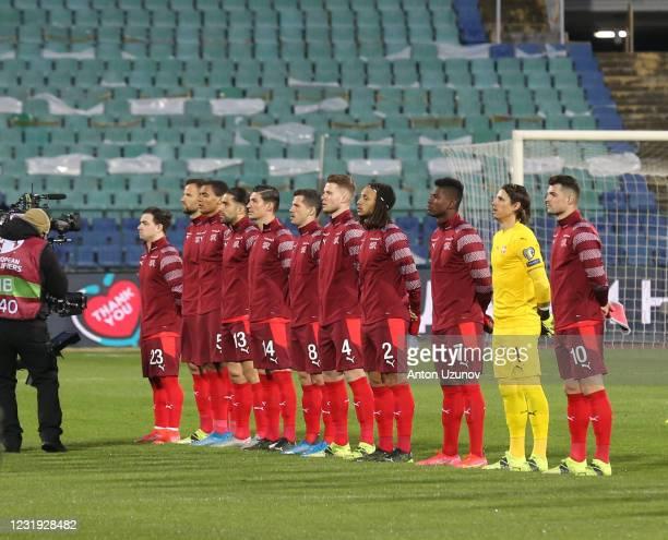 The Switzerland team during the FIFA World Cup 2022 Qatar qualifying match between Bulgaria and Switzerland at Vasil Levski National Stadium on March...