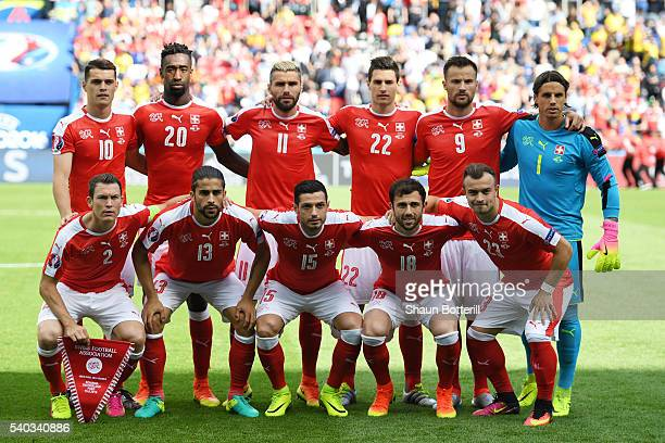 The Switzerland team line up during the UEFA EURO 2016 Group A match between Romania and Switzerland at Parc des Princes on June 15 2016 in Paris...