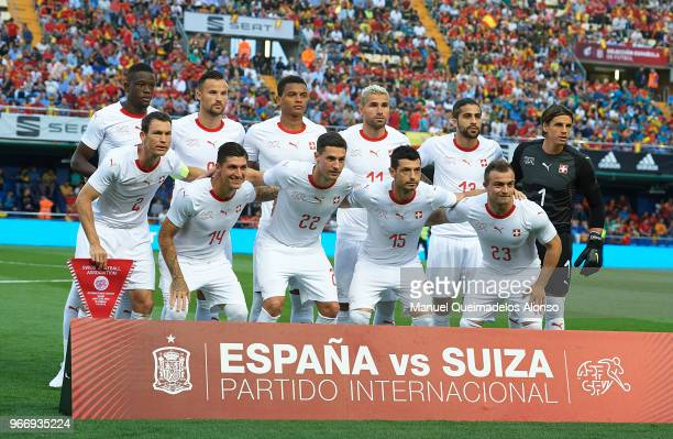 The Switzerland team line up for a photo prior to kick off during the International Friendly match between Spain and Switzerland at Estadio de La...
