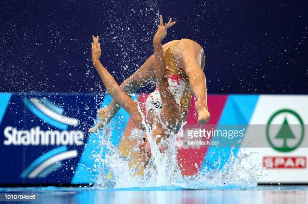 The Switzerland team perform in the Preliminary round of the Duet Free Routine during the sychronised swimming on Day three of the European...