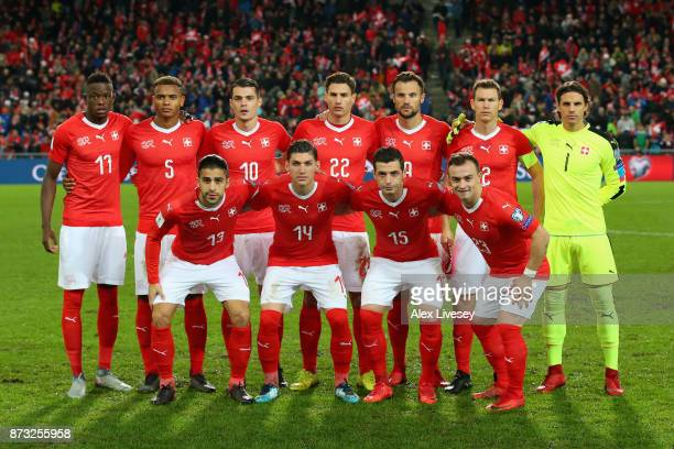The Switzerland team pose for a photo prior to the FIFA 2018 World Cup Qualifier PlayOff Second Leg between Switzerland and Northern Ireland at St...