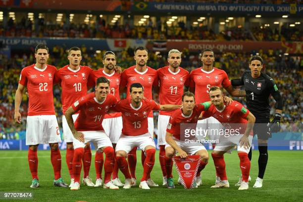 The Switzerland team pose for a team photo prior to the 2018 FIFA World Cup Russia group E match between Brazil and Switzerland at Rostov Arena on...