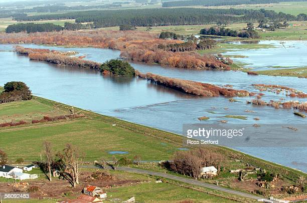 The swollen Rangitikei River near Tangimoana in the Manawatu New Zealand Thursday July 01 2004 The area was flooded extensively earlier this year