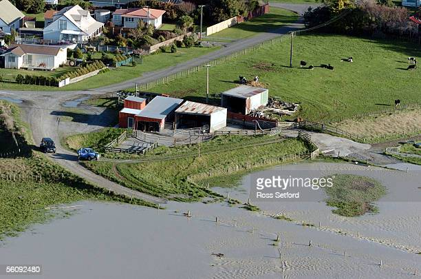 The swollen Rangitikei River rises near Tangimoana in the Manawatu New Zealand Thursday July 01 2004 The area was flooded extensively earlier this...