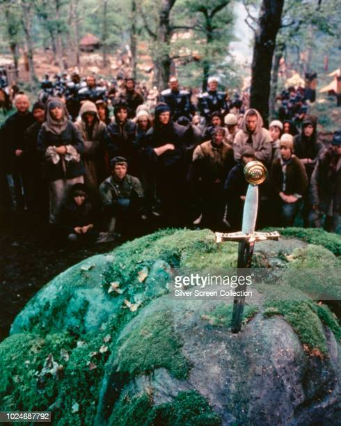 The sword in the stone from Arthurian legend in a scene from the fantasy film 'Excalibur' 1981