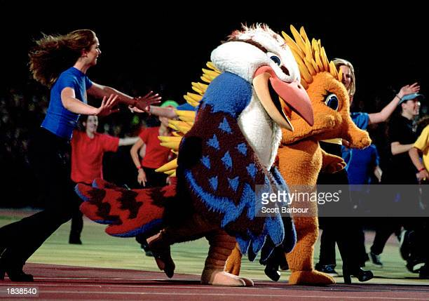 The Sydney 2000 Mascots celebrate the end of the 2000 Olympics during the Closing Ceremony held at the Olympic Stadium on day 16 of the Sydney 2000...