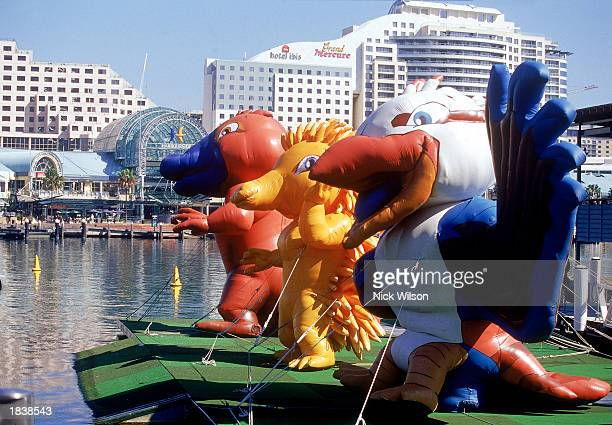 The Sydney 2000 Olympic Mascots on show during the 'One Year To Go Celebrations' before the Sydney 2000 Olympic Games held at Darling Harbour in...